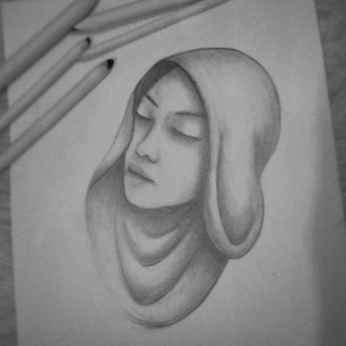 woman with a headscarf, pencil sketch, in black and white, step by step drawing