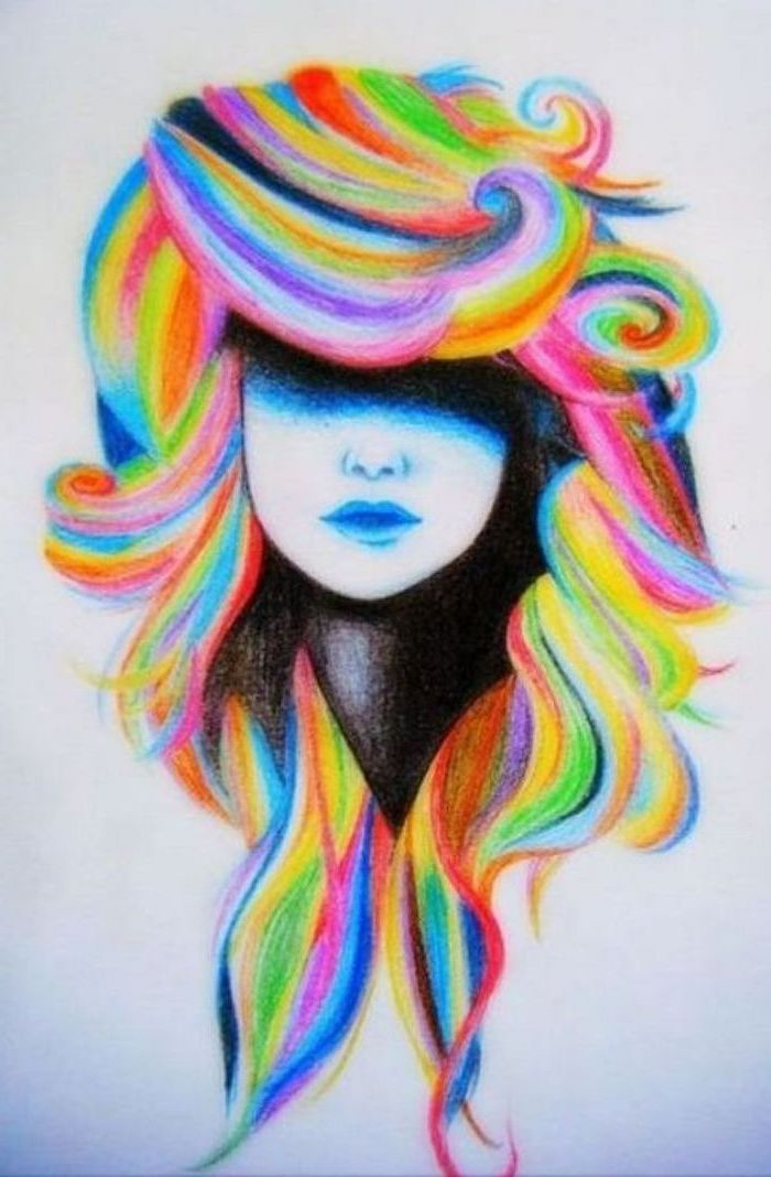 fun and easy things to draw, rainbow coloured hair, pencil drawing, female face, white background
