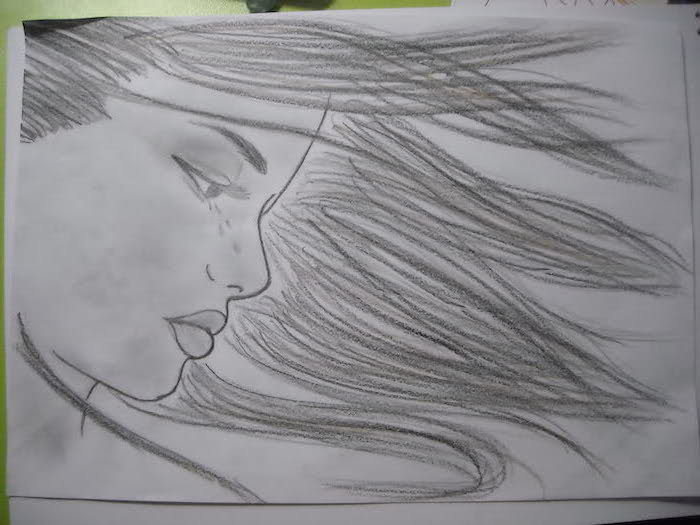 female face, long flowing hair, fun and easy things to draw, black and white, pencil sketch