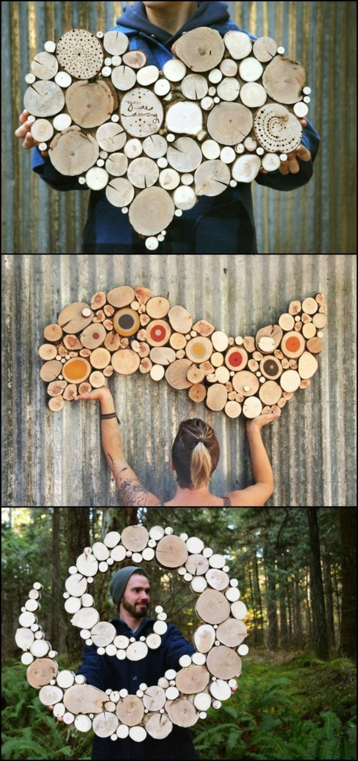 small wooden blocks, tree pieces, forming different shapes, large wall art ideas, side by side pictures