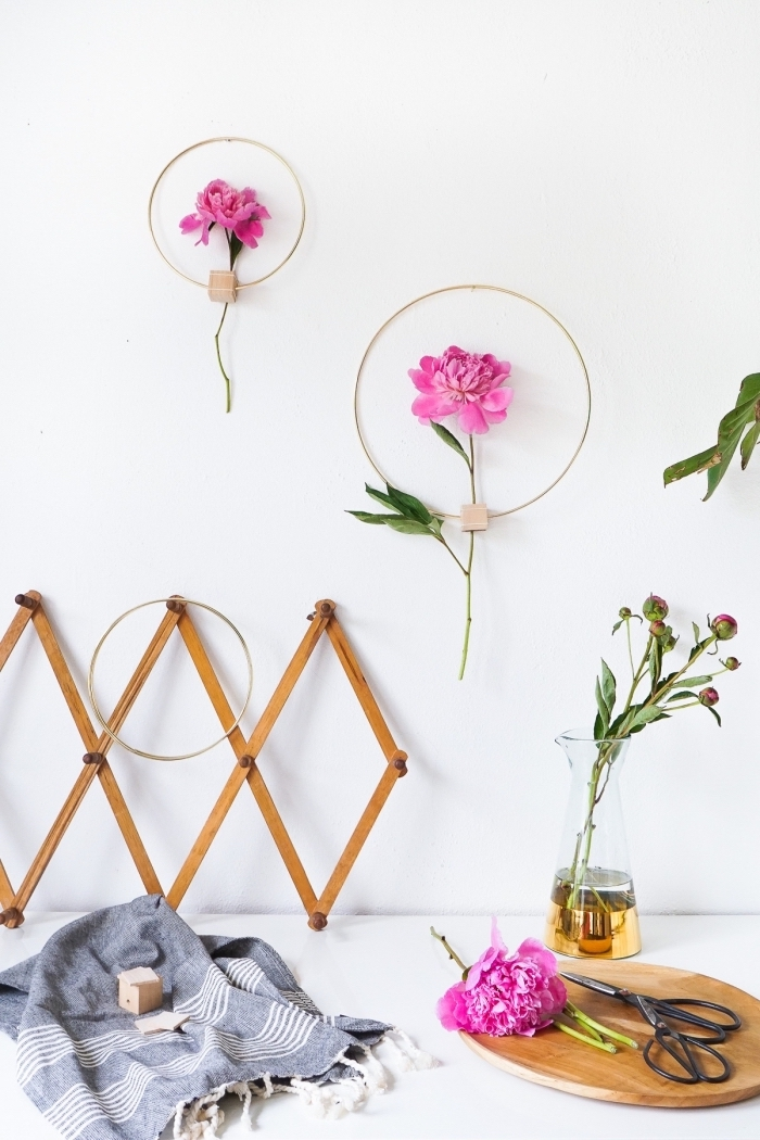 diy wall decor, wooden and metal, flower frame, wooden board, scissors and flowers on top