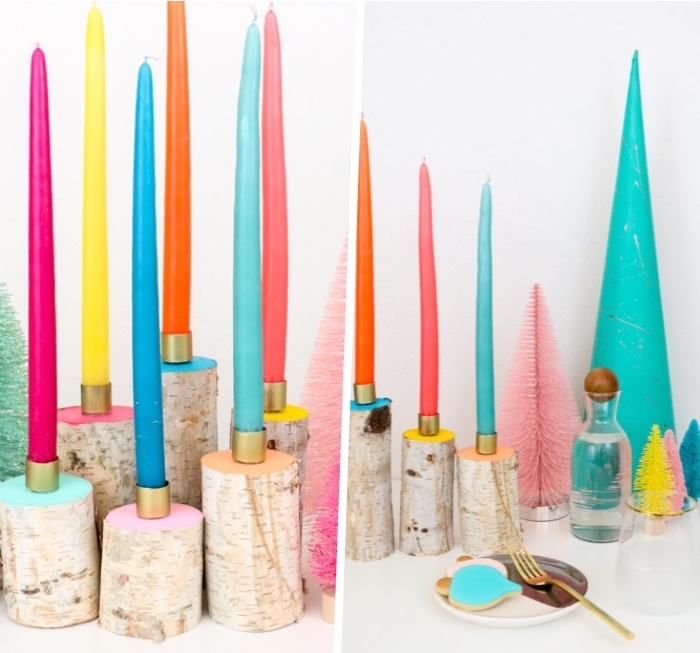 colourful candles, small blocks of wood, painted in different colours, centerpiece ideas