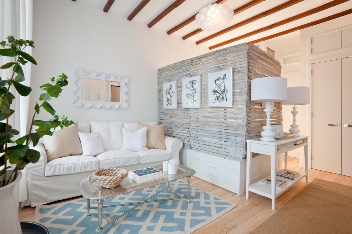 wooden room divider, white sofa, living room dining room combo, glass coffee table, wooden floor