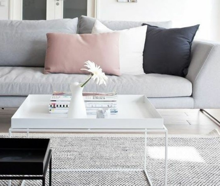 popular living room colors, white metal coffee table, grey sofa, white pink and black, throw pillows