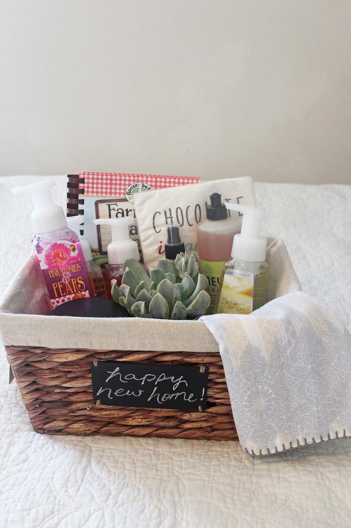 diy gift basket, wooden basket, good housewarming gifts, white background