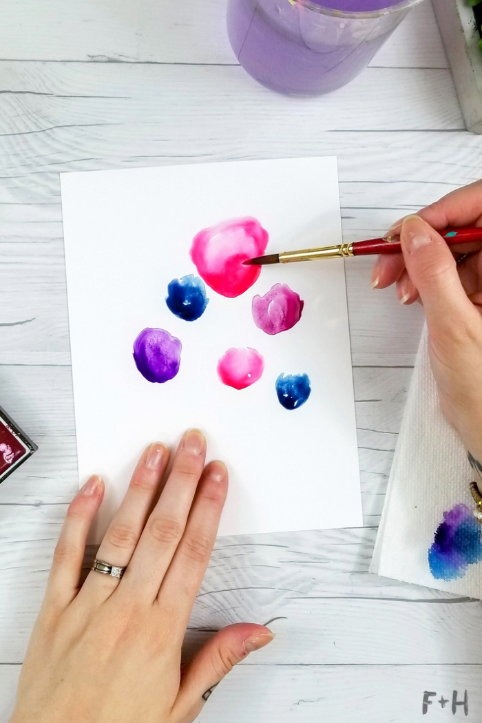 pink blue and purple, watercolour flowers, painted on white card stock, diy birthday cards