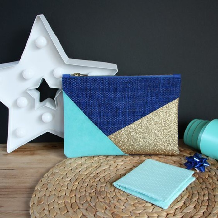 art and craft ideas for adults, denim velvet and gold glitter, clutch bag, white star with lights