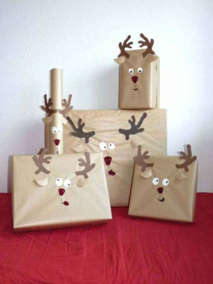 brown wrapping paper, deer drawn on the packages, art and craft ideas for adults, red blanket