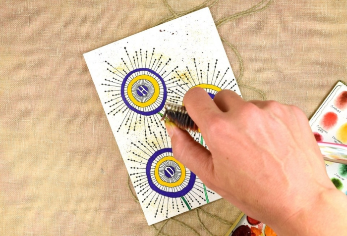 card sprayed with toothbrush, birthday greeting cards, yellow and purple circles, in the shape of flowers