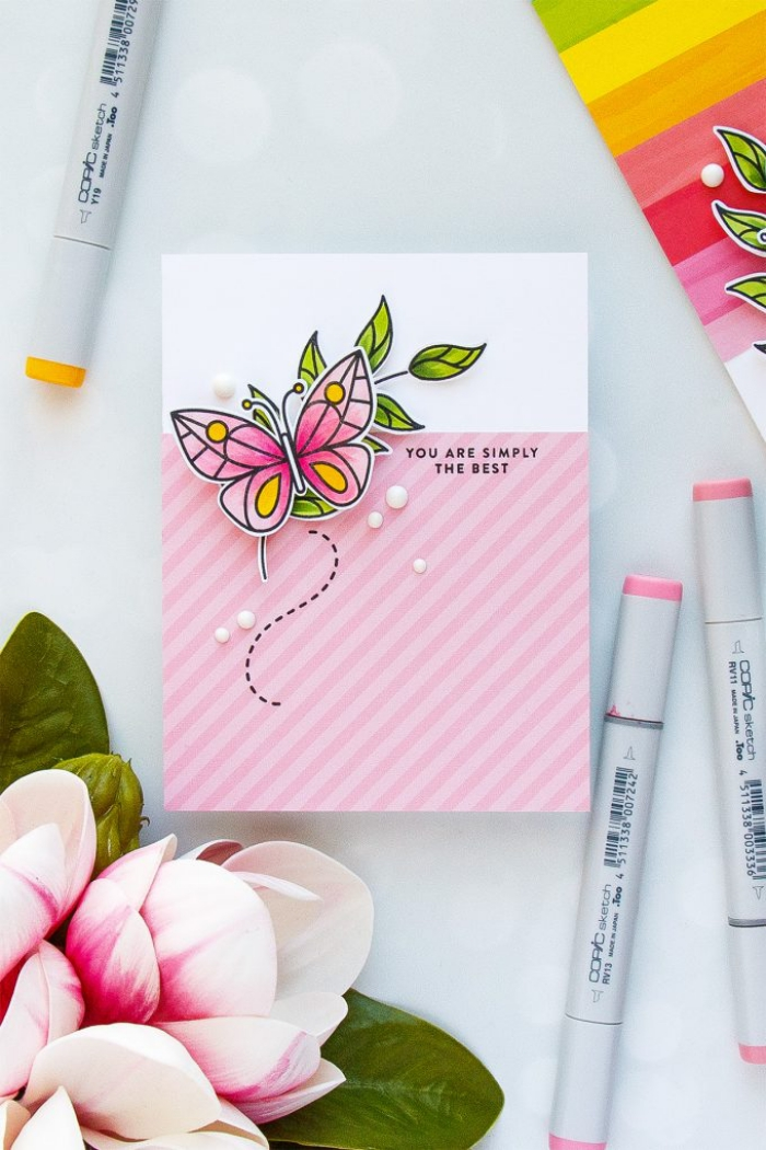 handmade birthday cards, pink butterfly, you are simply the best, pink and white card stock