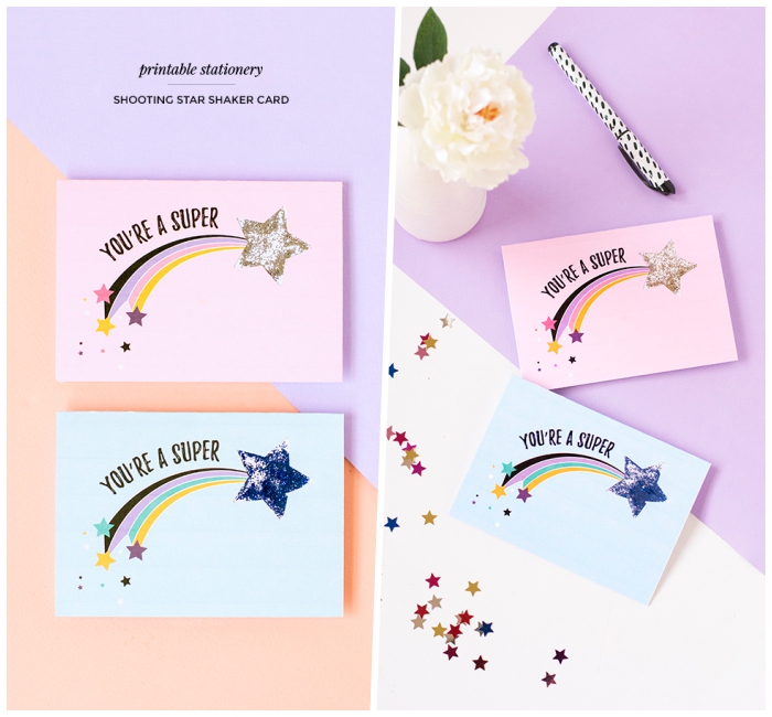 you're a superstar, greeting cards, birthday card ideas, [ink and blue, glittery shooting star