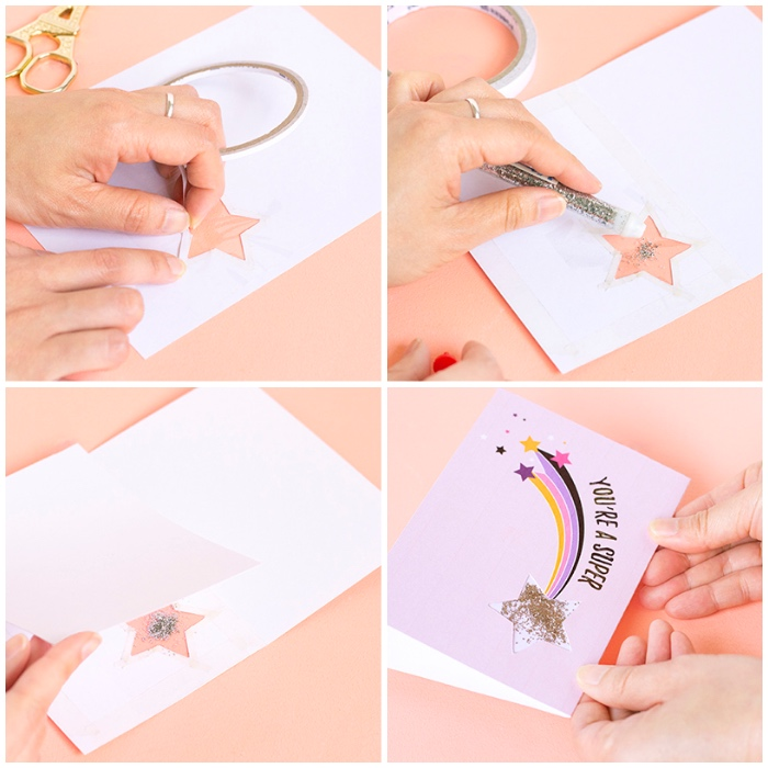 silver glitter, pink card stock, birthday cards for friends, step by step, diy tutorial, shooting star