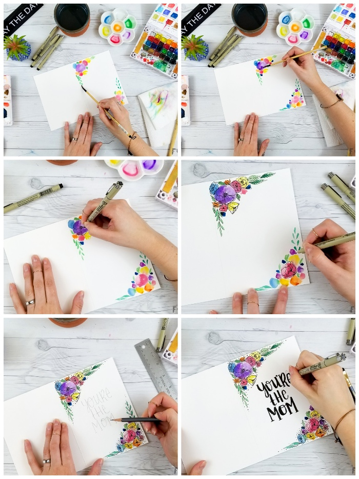 step by step, diy tutorial, funny birthday cards, white card stock, watercolour paint, white wooden table