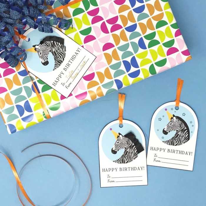 colourful wrapping paper, zebra unicorn, gift tags, birthday cards for best friend, blue background