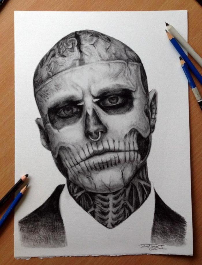 cool easy drawings, zombie boy portrait, black and white, pencil sketch, white background