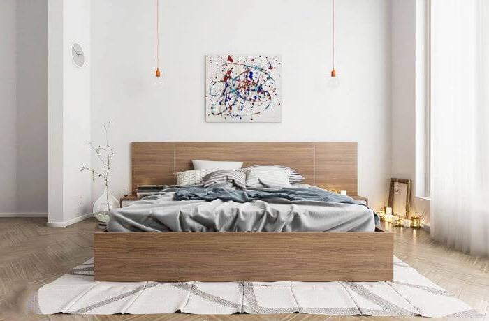 abstract art, wooden bed frame, bedroom ideas for women, wooden floor, white carpet