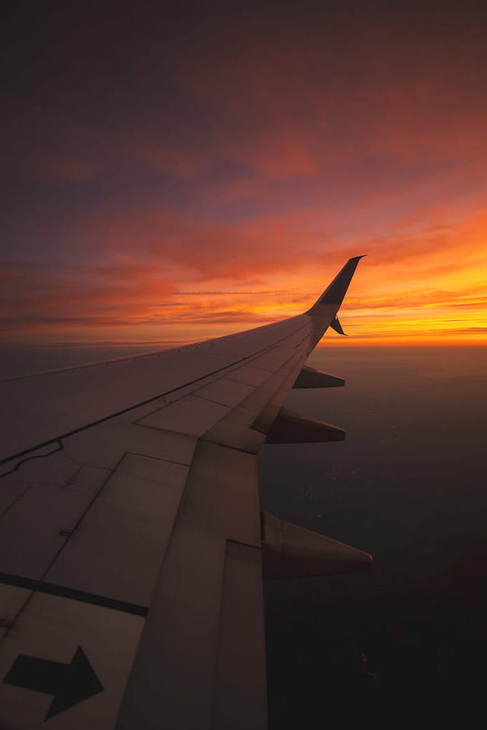 orange sunset, cute wallpapers for girls, airplane wing