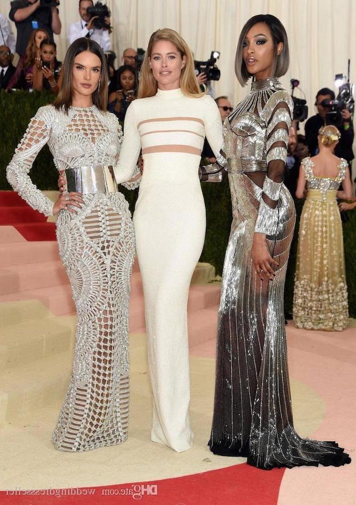 alessandra ambrosio, doutzen kroes, jourdan dunn, met gala fashion, silver dresses, white dress