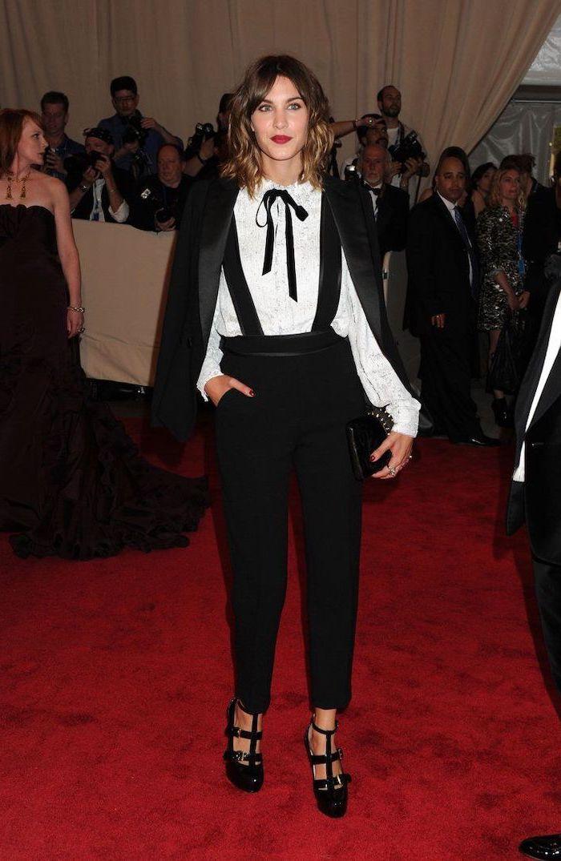 alexa chung, black trousers, black blazer, white shirt, costume institute, black suspenders