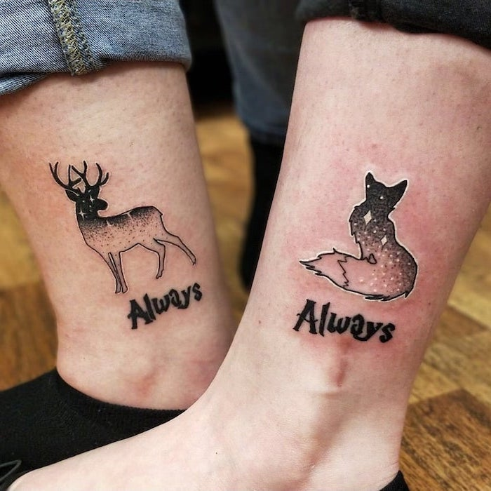 matching couple tattoos, inspired by harry potter, ankle tattoos, wooden floor