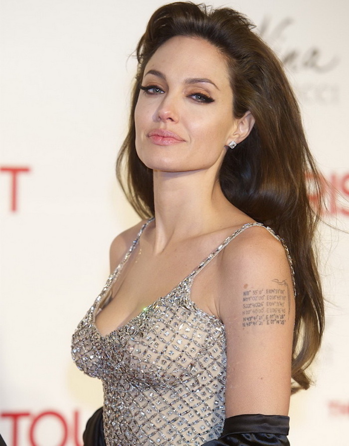 angelina jolie, silver dress, brown hair, tattoo ideas for women, shoulder tattoo