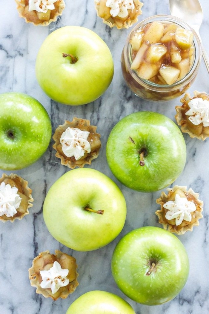 green apples, apple jam, with cream on top, vegan hors d oeuvres, marble countertop
