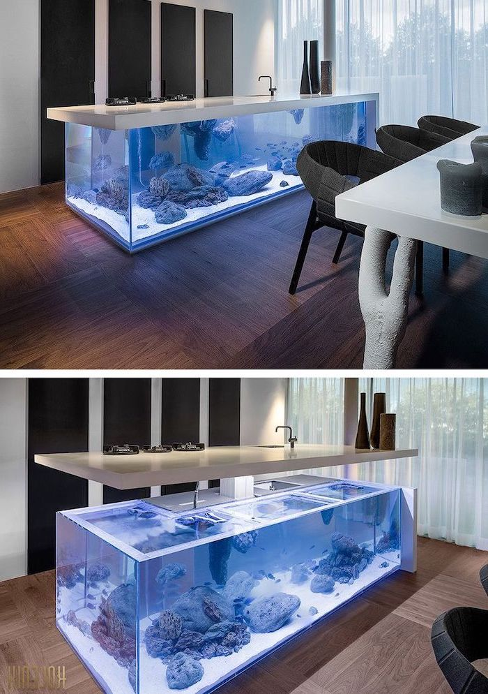 aquarium kitchen island,, white countertop, kitchen island with sink, wooden floor