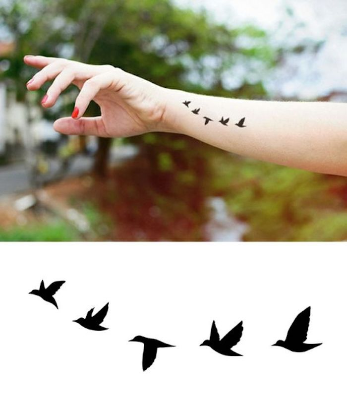 birds flying, wrist tattoo, red nail polish, arm tattoos for women