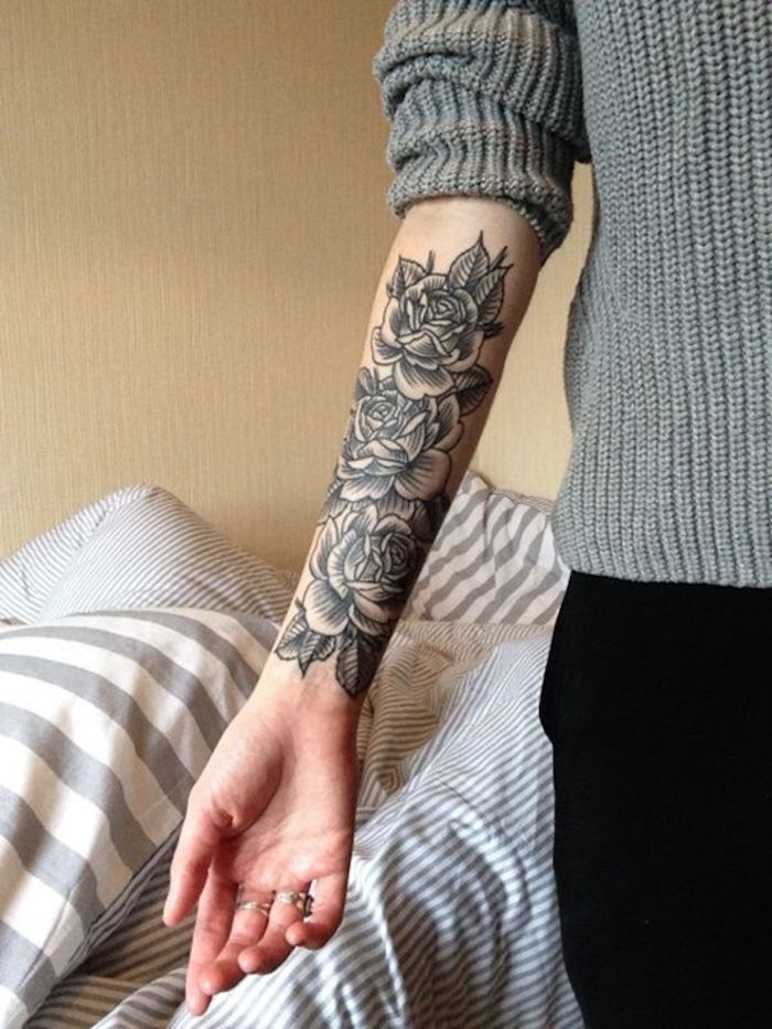 grey sweater, arm tattoos for women, three roses, forearm tattoo, black pants