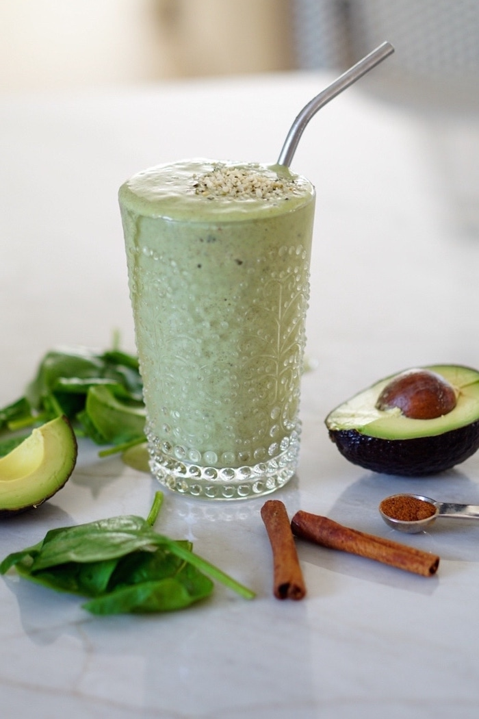 tall glass, spinach and avocados, cinnamon sticks, smoothie recipes, silver straw