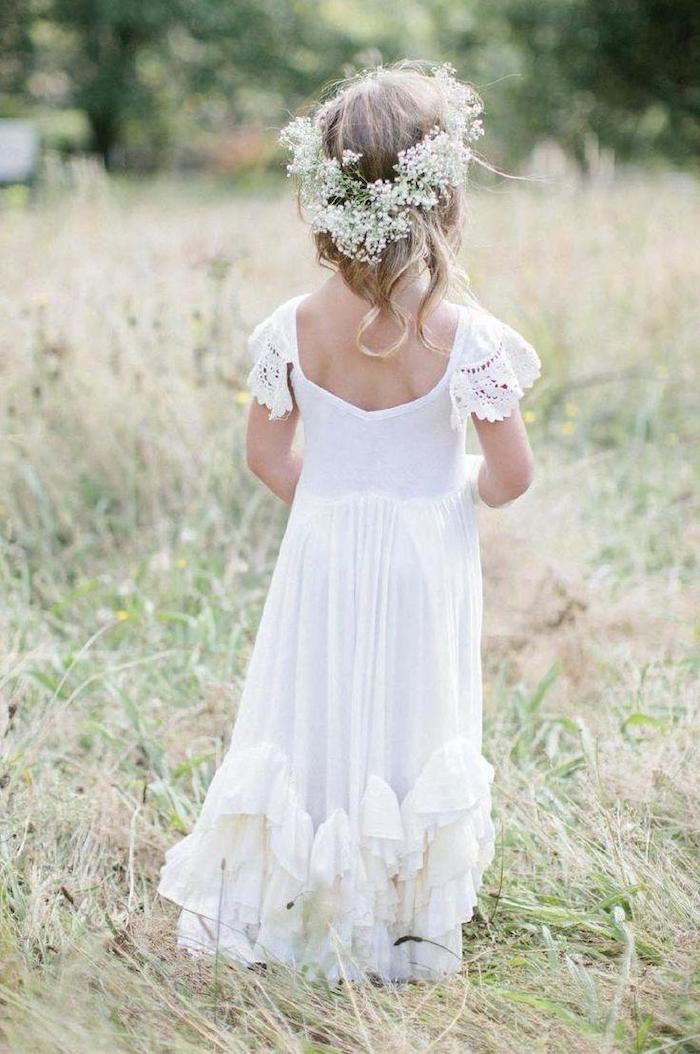white long dress, baby's breath crown, flower girl shoes, blonde wavy hair, green grass