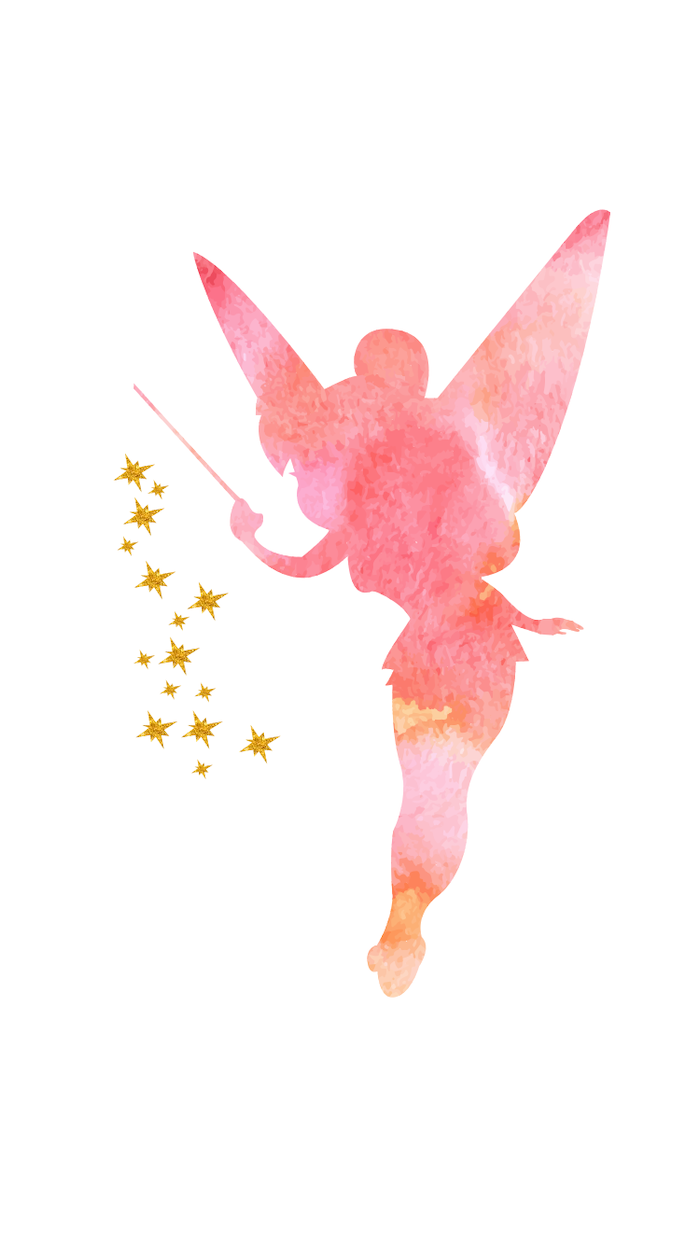 tinkerbell character, from peter pan, cute wallpapers for girls, pink outline, on a white background
