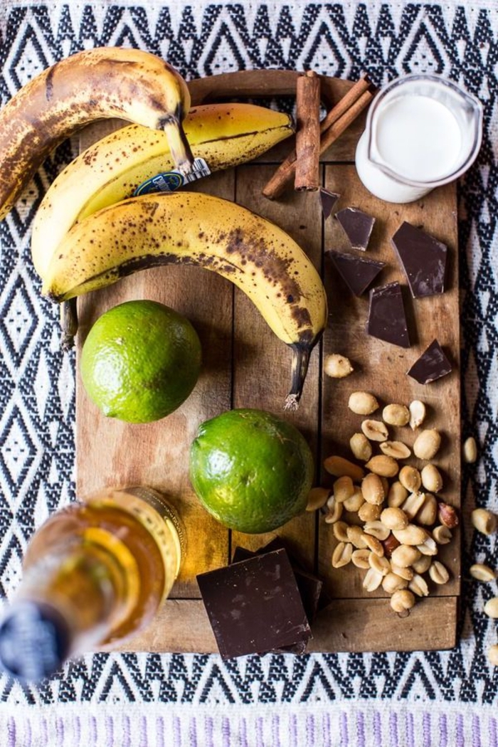 step by step, diy recipe, vegan appetizers, bananas and lime, chocolate and nuts
