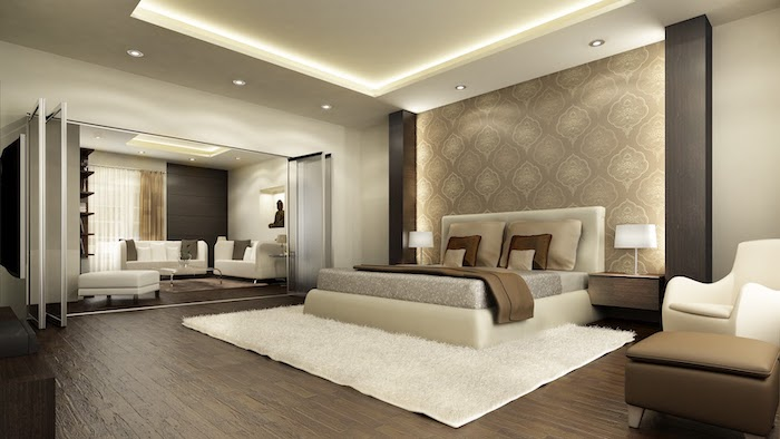 wooden floor, bedroom ideas for women, white carpet, white leather bed frame, led lights