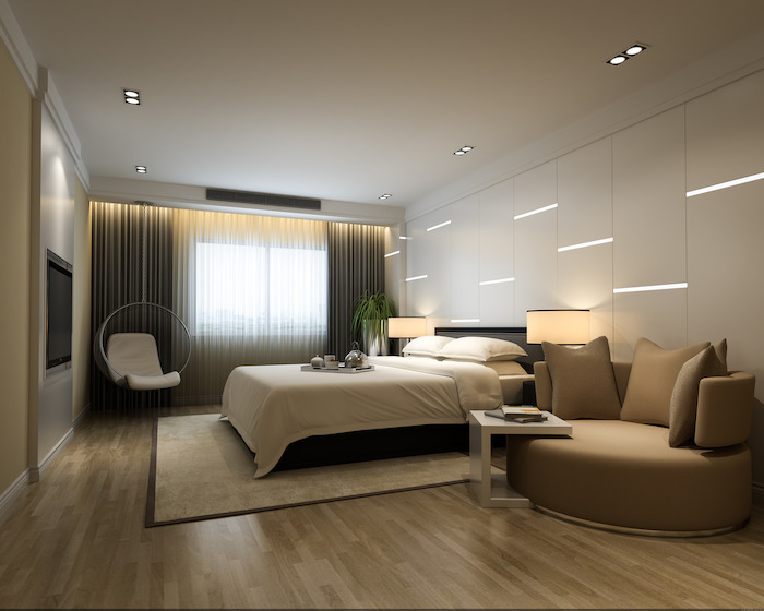 white walls, led lights, beige leather sofa, white hanging armchair, master bedroom ideas, wooden floor
