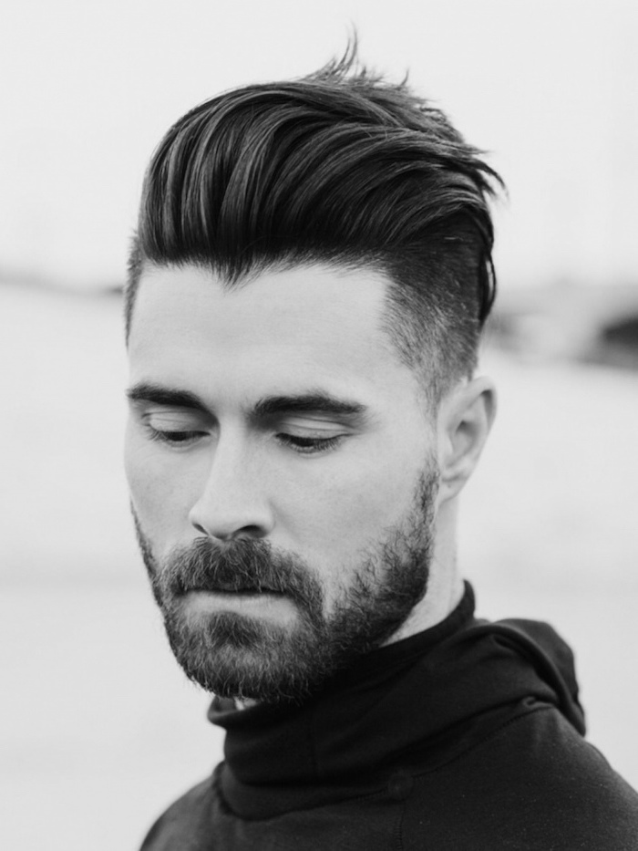 black and white photo, shot hairstyles for men, black hair, black polo blouse