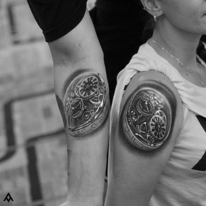 biomechanical shoulder tattoos, relationship tattoos, black and white photo