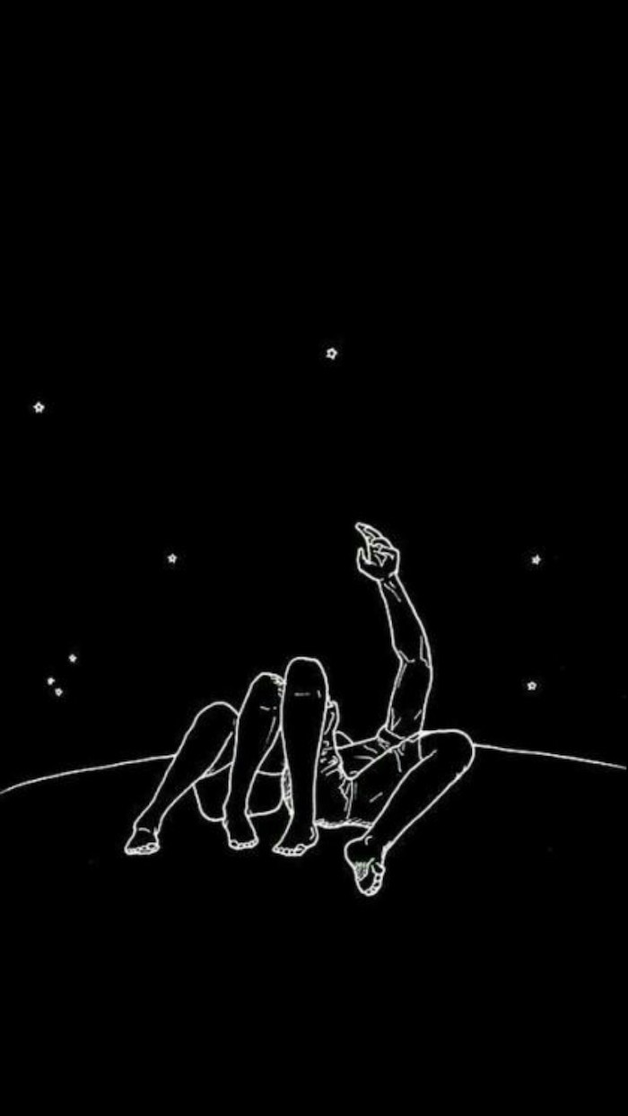 man and woman, laying next to each other, looking at the stars, wallpaper tumblr, black and white drawing