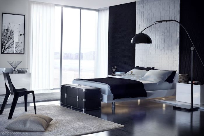 black accent wall, stone tiled accent wall, wooden floor, how to decorate your room, black chair