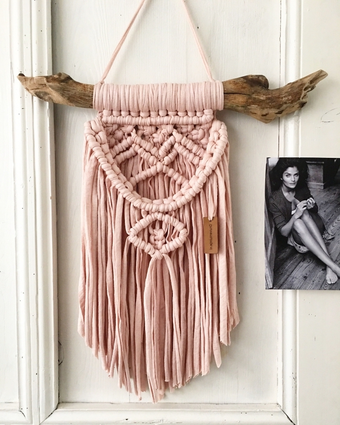 pink macrame, white wall, black and white photo of a woman, macrame wall hanging patterns