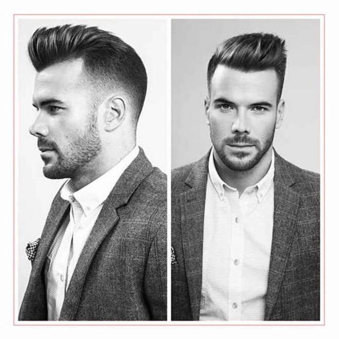side by side photos, types of haircuts for men, white shirt, grey jacket