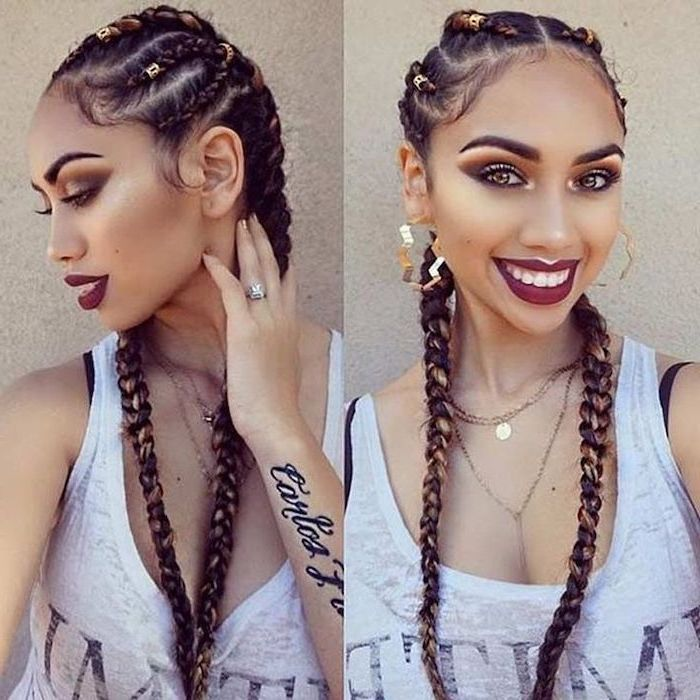 side by side photos, cornrows to the side, brown hair with beads, woman wearing a white top
