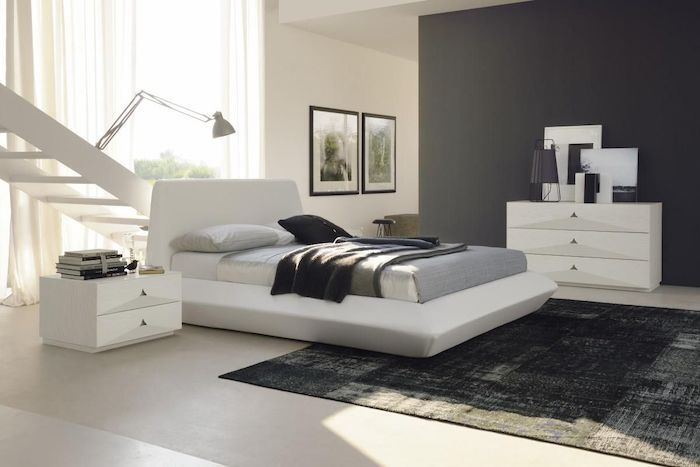 black wall, white staircase, how to decorate your room, black carpet, white leather bed frame