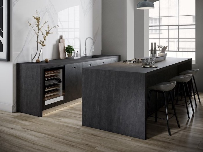 wooden floor, black kitchen island, kitchen island ideas, marble backsplash, grey bar stools