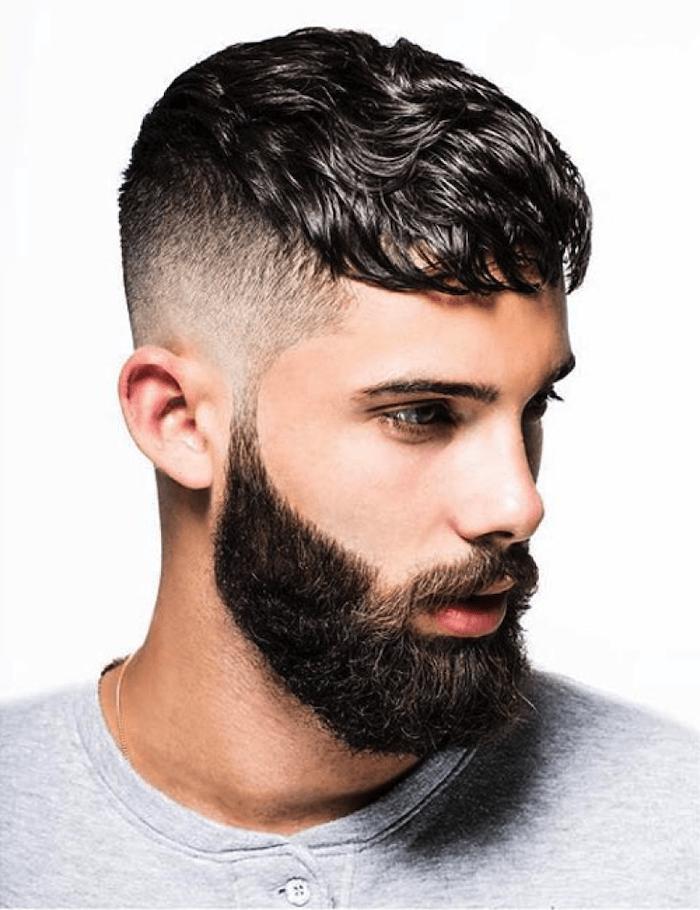 black curly hair, grey shirt, medium short haircuts, white background
