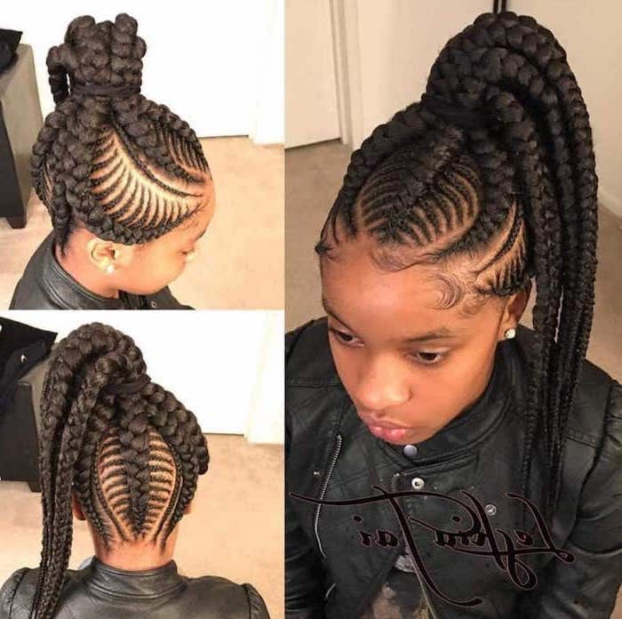 kids hairstyles, female cornrow styles, girl with black hair, in a ponytail