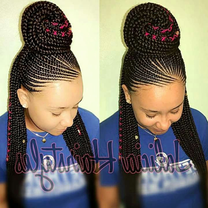 woman wearing a blue shirt, with black hair, in a bun, female cornrow styles, side by side photos