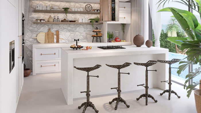 black metal, vintage bar stools, kitchen island with sink, white cabinets and drawers, stones backsplash