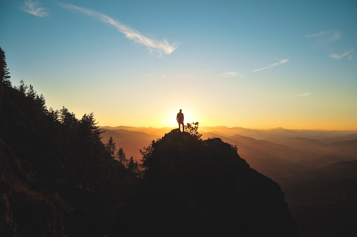 man standing on a rock, mountain landscape, love quotes tumblr, sun rising