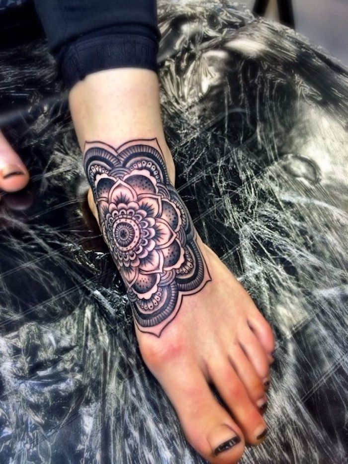 shoulder tattoos for girls, mandala ankle tattoo, black pants, black french manicure